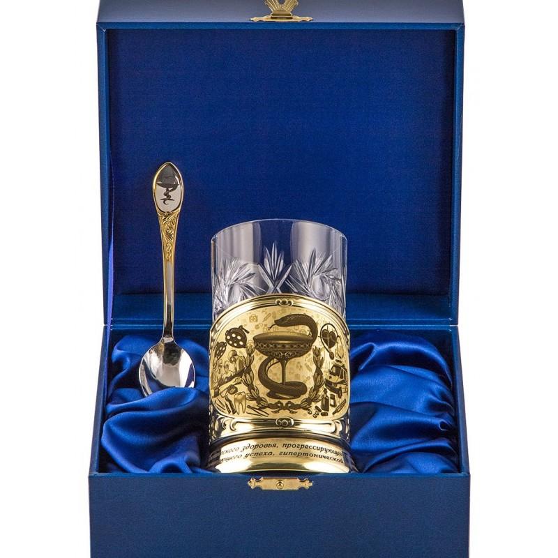 """Набор для чая с подстаканником """"Медики"""" (синий) от 3 600 руб"""